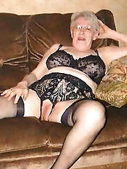 Raunchy aged grandmama is showing off her breasts