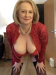 Amazing grannies showing their sexy stocking tops off